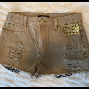 Army Green Shorts Gold Studs